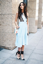 sky blue pleated Chicwish dress - white Olympia Le-Tan bag