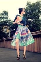 aquamarine Glass Boutique skirt - orange aston rimell bag