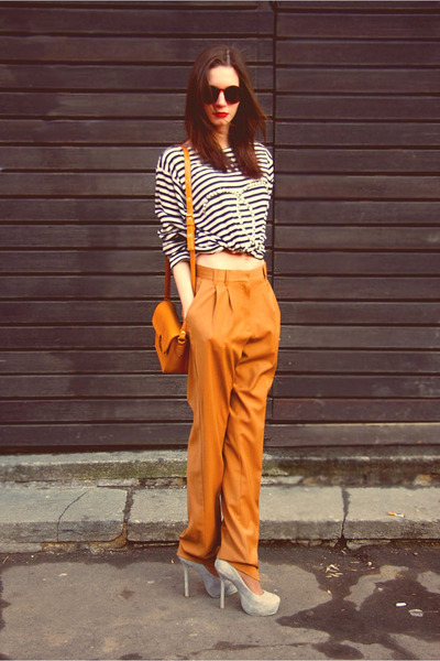 gold Mango pants - gold Celine bag - heather gray Yves Saint Laurent heels