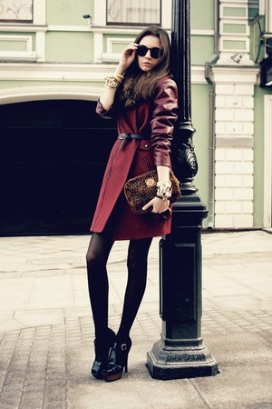 brick red with leather Sheinside coat - crimson leopard fur tory burch bag