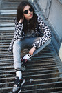 Ivory-leopard-print-bershka-jacket-off-white-front-row-shop-socks