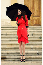 red BangGood coat - red Udobuy skirt - yellow gold Marc by Marc Jacobs watch