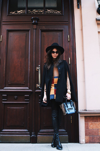black Strel hat - navy Celine bag - bronze Zara top - burnt orange asos skirt