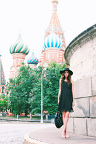 black lace choiescom dress - black wool asos hat - blue Woodwedo sunglasses