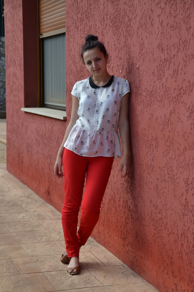 white Bershka blouse - red H&M pants - pull&bear sandals