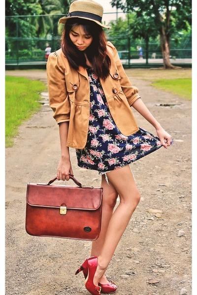 blue landmark dress - mustard baleno blazer - dark brown vintage thrifted bag
