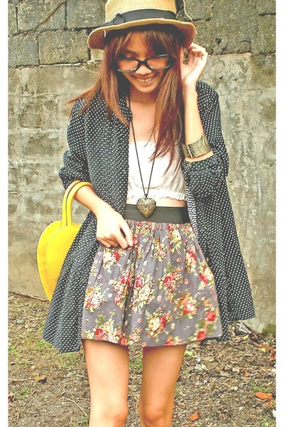 What Women Want hat - floral print thifted skirt - polka dots thrifted blouse -