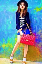 ruby red quilted Parisian bag - black structured Details blazer