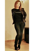 black leather jacket Zara jacket - black shoes - navy jeans