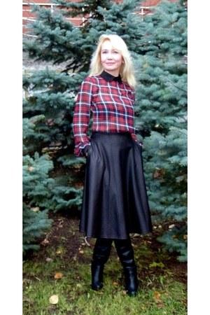 asos skirt - Stradivarius boots - JOVONNISTA blouse