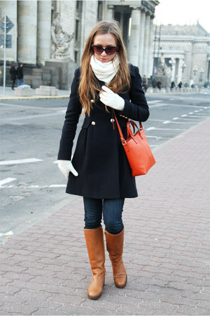 navy Zara coat - burnt orange Massimo Dutti boots