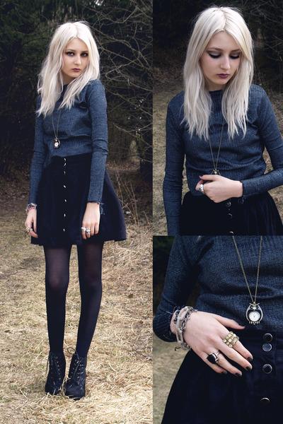black skirt - dark gray Self-Sewn sweatshirt