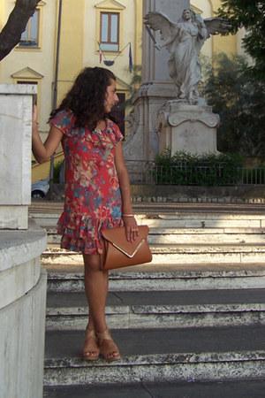 coral denny rose dress - burnt orange no brand bag - bronze Tata wedges
