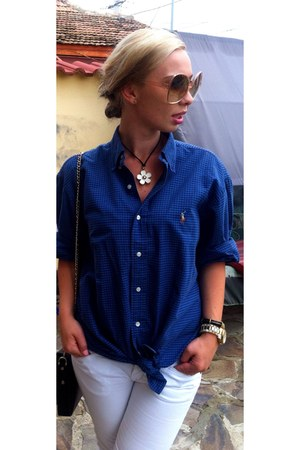 blue Ralph Lauren shirt - Polaroid sunglasses - Michael Kors watch