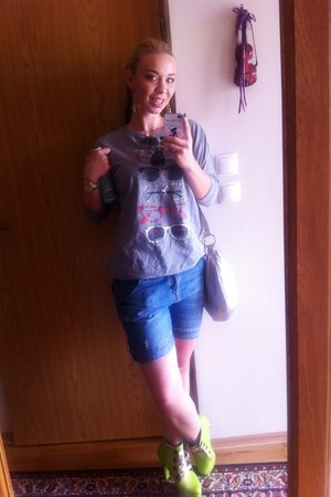 blue hilfiger jeans - silver Furla bag - silver Zara blouse