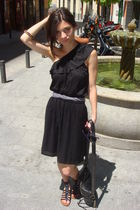black Oysho dress - black Aldo Shoes shoes - black botkier accessories - purple