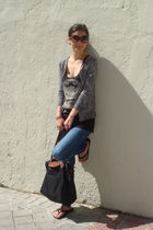 gray JCrew cardigan - black Juicy Couture top - blue Abercrombie jeans - black l