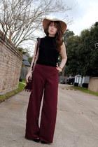 brick red flare DIY pants - camel Jessica Simpson hat - crimson fringe bag
