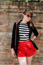 white zig zag shirt - black blazer - brown leather bag - red handmade shorts