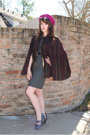 gray Payless shoes - gray dress - hot pink beret Target hat - handmade cape