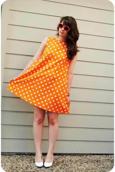 orange handmade dress - white shoes - orange vintage sunglasses
