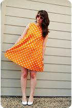 orange handmade dress - white shoes - orange vintage sunglasses