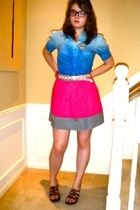 Pink Twill skirt - Hanna and Gracie top - Forever21 belt - Two Kiss shoes - Clai