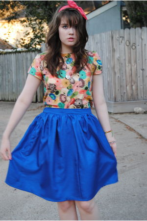 blue handmade skirt - blouse - pink headband Target accessories