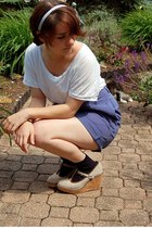 violet thrifted shorts - navy old socks - white Forever 21 top - tan Old Navy we