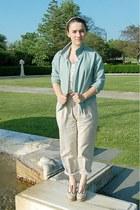 light blue homemade jacket - cream thrifted shirt - tan thrifted pants - beige t