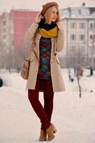 bronze awwdore hat - burnt orange Oasis boots - camel asos coat