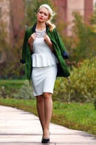 forest green Sheinside jacket - white SirenLondon dress