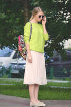 cream asos skirt - black asos bag - chartreuse romwe jumper