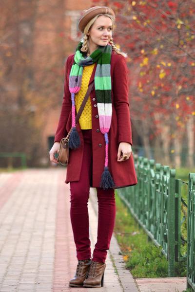ruby red AX Paris jeans - bronze awwdore hat - mustard chicnova sweater
