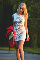 ivory AX Paris dress - red new look jacket - neutral Colin Stuart heels