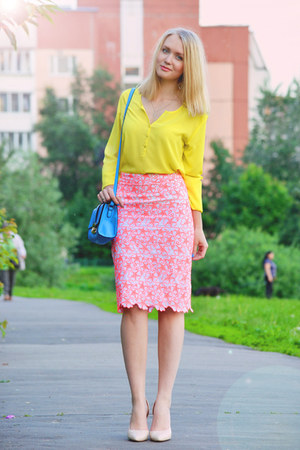 yellow Esprit blouse - bubble gum asos skirt