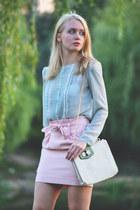 cream Zara blouse - white vjstyle bag - light pink beckybwardrobe skirt