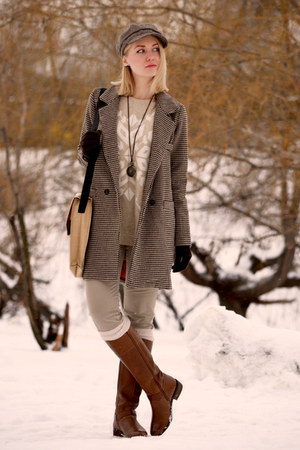 burnt orange Sheinside coat - tawny Oasis boots - tan Victorias Secret jeans