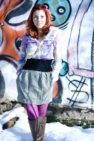 brown Nine West boots - flower print Tina R shirt - purple Adesgo tights
