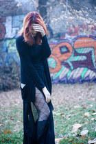 black Musette boots - black Mango blouse - black Kotton cardigan