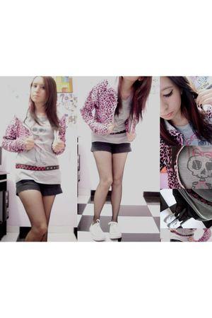 pink coat - black shorts - white shoes - silver t-shirt