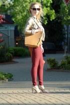 gold Charlotte Russe jacket - burnt orange vintage sweater - mustard Ripani bag
