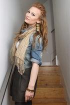 blue H&M jacket - green Zara skirt - white Mexx t-shirt - green Esprit scarf - g