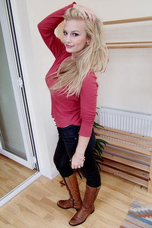 red Gap top - brown Cheap Monday jeans - brown Faith boots - orange Vero Moda ea