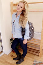 blue Tommy Hilfiger shirt - blue asos jeans - gray dune boots - gray TK Maxx bag