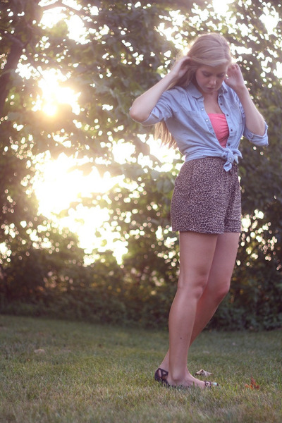 denim Mossimo shirt - leopard print shorts - lace American Eagle bra
