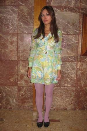 vintage dress - H&M tights - vintage shoes