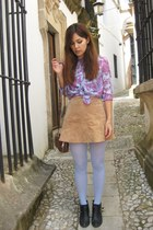 light purple paisley shirt - tan suede skirt
