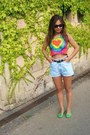 Light-blue-secod-hand-shorts-hot-pink-gift-top