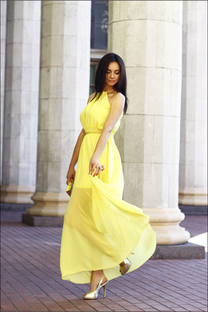 yellow chiffon DressLink dress